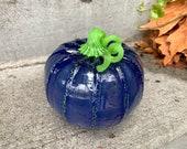 "Blue & Green Glass Pumpkin, 6"" Seattle Football Team Colors Blown Glass Pumpkin, Dark Blue with Bright Green Curly Stem, Avalon Glassworks"