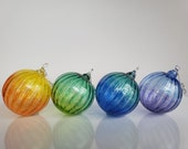 """Rainbow Fade Ornaments, Set of Four, 3"""" Hand Blown, Sun Catchers, Christmas Decor, Two-Toned Decorations with Metal Hooks, Avalon Glassworks"""