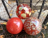 "Red and Calcedonia Glass Balls, Set of 3 Decorative 4"" Floats, Home or Garden Decor, Basket Filler, Outdoor Pond Spheres, Avalon Glassworks"