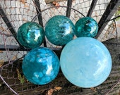 "Turquoise & Aqua Glass Balls, Set of Five, 2.75""-5"" Decorative Spheres, Blue Blown Garden Balls, Nautical Pond Floats, by Avalon Glassworks"