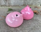 Pink Glass Chicks, Set of Two Hand Blown Bird Sculptures, Easter Basket Mantel Tabletop Art Spring Baby Shower Decoration, Avalon Glassworks