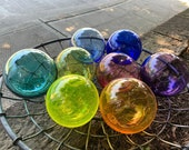 "Blown Glass Floats Rainbow Colors Set of 8 Garden Balls, 4.5"" Decorative Floating Outdoor Pond Art Interior Design Spheres Avalon Glassworks"