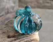 "Glass Pumpkin, Solid Aqua Color Paperweight, 3"" Decorative Squash Sculpture in Dark Teal and Clear Glass, By Avalon Glassworks"