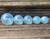 "Jellyfish Floats, Set of Five, 3""-4.5"" Blown Glass Garden Balls in Transparent Light Blue Stripes, Floating Spheres, By Avalon Glassworks"