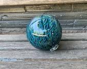 "Blue Scale Pattern Glass Float, 4.5"" Decorative Hand Blown Ball, Blue Amber Fishnet Pattern, Outdoor Garden Art Sphere, Avalon Glassworks"