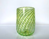 """Lime Twist Cup, Blown Glass Tumbler, Pen Holder, Drinking Glass, Small Vase, 4"""" Glassware, Green Optic Stripe Pattern, by Avalon Glassworks"""