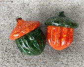 "Blown Glass Acorn Sculptures, Set of Two, 4"" Orange and Green Oak Tree Seed Pods, Fall Decor, Autumn Decorations, Acorns, Avalon Glassworks"