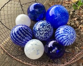 Blue and White Floats, Set of 8 Decorative Art Glass Balls, Nautical Pond Spheres Hand Blown Glass Garden Interior Design, Avalon Glassworks