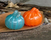 "Orange and Teal, Set of Two, 4"" Blown Glass Pumpkins with Curly Stems, Autumn Decor by Avalon Glassworks"