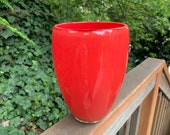 "Just Red. Big, Heavy, 9"" Tall Opaque Crimson Blown Glass Art Vase, Solid Color, Sturdy, Pop of Color, Home Decor, By Avalon Glassworks"