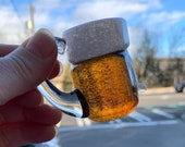 """Beer Mug Ornament, Micro Brew Mini Lager Beer Sculpture, 2"""" Solid Glass Paperweight, Hanging Decoration or Tabletop Decor, Avalon Glassworks"""