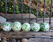 "Green and White Spotted Blown Glass Balls, Set of Five 2.75"" Pond Floats, Garden Decoration, Basket Filler, Yard Art, By Avalon Glassworks"