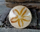 "Glass Sand Dollar, Solid Glass 3"" Natural Beige Paperweight, Table Decoration, Sea Shell Sculpture, By Avalon Glassworks"