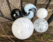 """White and Black Floats, Set of Five 2.5""""-5"""" Decorative Hand Blown Glass Balls, Home or Garden Décor, Outdoor Pond Spheres, Avalon Glassworks"""