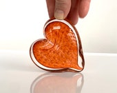 "Peach Bubble Heart, Solid Glass Heart-Shaped 3"" Paperweight Sculpture, Transparent Amber Pink Orange Valentine's Day Gift, Avalon Glassworks"