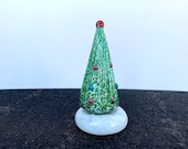 "Small Holiday Tree Sculpture, 4"" Solid Glass Christmas Decoration for Mantel, Tabletop, Green, White, Multi-Colored Dots, Avalon Glassworks"
