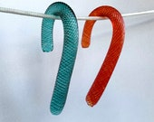 """Glass Candy Canes, Set of Two 4"""" Sculpted Ornaments, Gift Toppers, Red & Green, Holiday Table Decorations Christmas Decor, Avalon Glassworks"""