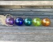 "Nautical Jewel-Tone Floats, Set of Five 2.75"" Hand Blown Glass Balls in Net Bag, Colorful Beach Art, Tiki, Coastal Decor, Avalon Glassworks"