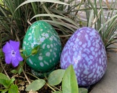 "Glass Eggs, Set of Two 4"" Blown Glass Sculptures, Purple Green with Light Blue Spots, for Basket, Mantel, Table Décor, By Avalon Glassworks"