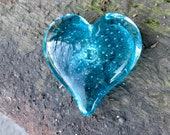 "Aqua Blue Glass Heart, Solid Heart-Shaped 3"" Paperweight Sculpture, Appreciation Gift, By Avalon Glassworks"