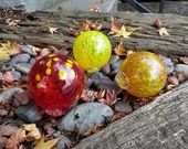 Red and Yellow Floats, Set of Three Decorative Hand Blown Glass Garden Balls, Nautical Home Décor, Pond Floats, By Avalon Glassworks