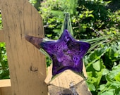 "Purple Sea Star Sculpture, 6"" Solid Glass Decorative Starfish Paperweight, Coastal Decor, Nautical, Beach House Style, By Avalon Glassworks"