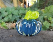 "Blue Mini Pumpkin with Lime Green Stem, Solid Glass Paperweight, 3"" Decorative Squash Sculpture, By Avalon Glassworks"