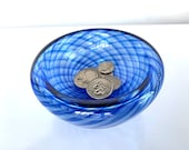 """Cobalt Blue Optic Twist Blown Glass Bowl, 4.5"""" Double-Wall Style, Candy Dish, Jewelry Holder, Key Drop, Entry Hall Decor, Avalon Glassworks"""