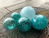 "Aqua & Turquoise Glass Pond Floats, Set of Five, 2.5""-4.5"" Decorative Spheres, Hand Blown Nautical Garden Balls, by Avalon Glassworks"