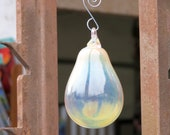 "Golden Pear, Blown Glass 4.5"" Ornament with Silver Hook, Christmas Tree Decoration, Autumn Decor By Avalon Glassworks"