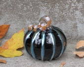 "Black and Gold Pumpkin, 4.5"" Decorative Blown Glass Squash Sculpture with Curly Gold Stem and Accent on Ribs, By Avalon Glassworks"