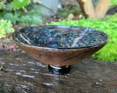 """Earth and Sky Bowl, Hand Blown Glass 7"""" Footed Dish Dark Cosmic Multi Mix Natural Crackle Earth Tone Masculine Art Design, Avalon Glassworks"""