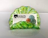 Green Blown Glass Business Card Holder, Aquatic Fan Shape Lime & Aqua Blue Spots Desk Accessory, Front Office Lobby Decor, Avalon Glassworks