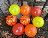 "Red, Orange & Yellow, Set of Eight 2.75"" Blown Glass Balls, Opaque Warm Colors, Speckles, Indoor or Outdoor Garden Décor, Avalon Glassworks"