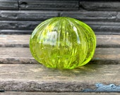 "Green Sea Urchin Shell, 4"" Decorative Blown Glass Shell Sculpture with Encased Bubble Pattern, Lime, Chartreuse, Peridot, Avalon Glassworks"