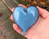"Denim Blue Glass Heart, Solid Heart-Shaped 3"" Paperweight Sculpture, Valentine's Day, Anniversary, Wedding, Romantic Gift, Avalon Glassworks"