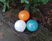 "Turquoise, Orange and White Pond Floats, Set of Three 4.5"" Blown Glass Decorative Balls, Outdoor Garden Decor By Avalon Glassworks"