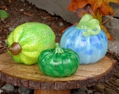 Pod, Squash & Pumpkin Set of Three, Green and Blue Blown Glass Gourds, Table Centerpiece, Hand Blown By Avalon Glassworks