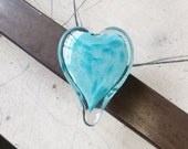 "Light Blue Two-Toned Glass Heart, Solid Heart-Shaped 3"" Paperweight Sculpture, Valentine's Day, Appreciation Gift, By Avalon Glassworks"