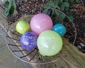 "Pastel Dreams for Jo Ann, Set of Five Floats, 2.5""-4.5"" Blown Glass Spheres in Pastel colors Decorative Balls By Avalon Glassworks"