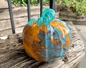"Orange & Turquoise Blown Glass Pumpkin, 5"" Decorative Squash Sculpture, Spotted Organic Pattern, Curly Stem, Front Porch, Avalon Glassworks"