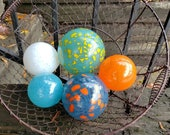 "Pops of Color, Set of Five, 2.5""-4"" Blown Glass Floats, Orange, Blue, White, Yellow, Decorative Garden Balls, Home Decor, Avalon Glassworks"