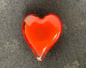 """Red Glass Heart, Solid Heart-Shaped 4"""" Paperweight Sculpture, Valentine's Day Appreciation Anniversary Romantic Love Gift, Avalon Glassworks"""