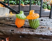 "Glass Acorns, Set of Two, 2.75"" Orange & Green Seed Pod Sculptures, Paperweights, Autumn Decor, Woodland Oak Tree Art, By Avalon Glassworks"