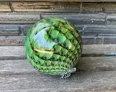 "Green Scale Pattern Glass Float, 4.5"" Decorative Hand Blown Ball, Blue Amber Fishnet Pattern, Outdoor Garden Art Sphere, Avalon Glassworks"
