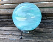 "Turquoise Garden Ball, 8"" Light Blue Blown Glass Outdoor Sphere, Large Decorative Float with Hand Made Metal Stand, By Avalon Glassworks"
