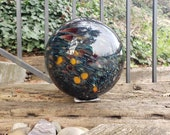 "Black and Mega Mix Extra Large Float, 6"" Blown Glass Ball with Flat Stopper, Cosmic Galaxy Garden Sphere, By Avalon Glassworks"