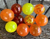 Red Orange Yellow Blown Glass Balls, Set of 10 Small Outdoor Garden Pond Floats Interior Design Spheres Bright Warm Tones, Avalon Glassworks