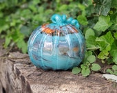 "Aqua and Orange Swirled Blown Glass Pumpkin, 6"" Decorative Sculpture in Blue and Orange with Curly Ribbed Stem By Avalon Glassworks"