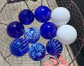 Blue and White Floats, Set of Ten Small Decorative Art Glass Design Balls Cobalt Nautical Pond Spheres Outdoor Garden Orbs Avalon Glassworks